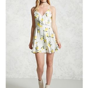 Lemon print ruffle cami dress